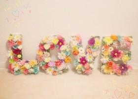 高砂やウェルカムスペースに飾りたいアイテムNO.1♡お花?貝殻?それとも、モス?愛が溢れる『LOVEオブジェ』を、いったい何で作りますか?